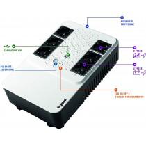 UPS BTicino 310082 Legrand Keor Multiplug 800VA 480Watt, 6 prese multistandard e Caricatore USB
